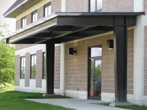 Steel Canopy Over Building Doorway