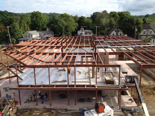 Drone Shot of New Building Steel Framework